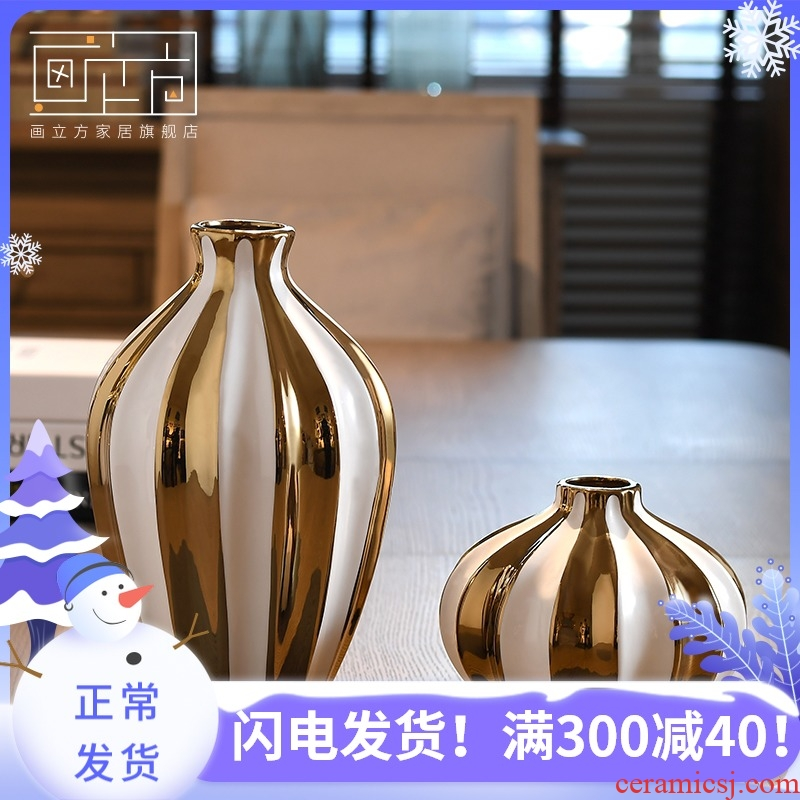 Ceramic cubic European vase large sitting room flower arranging dried flower vase creative I household adornment furnishing articles