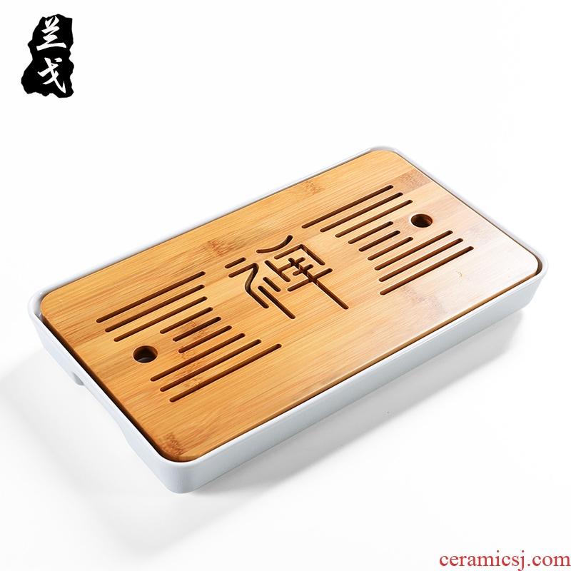 Having bamboo tea tray was kung fu tea set suit household dry plate tea table ceramic tea accessories, small bamboo plate of tea