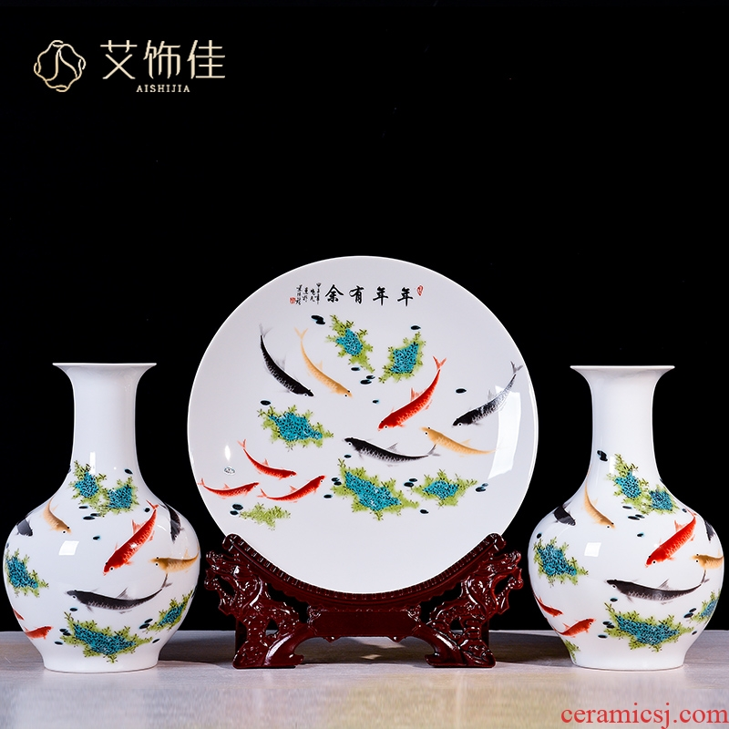 Jingdezhen ceramic furnishing articles sitting room flower arranging dried flower implement three - piece household adornment handicraft furnishing articles TV ark