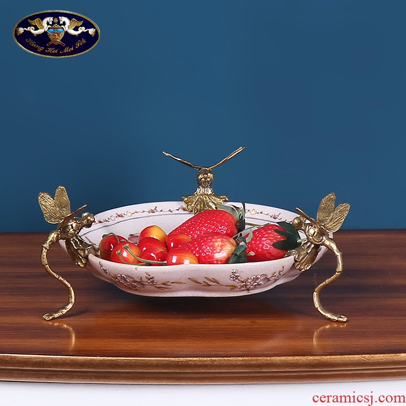 European household soft outfit fruit bowl sitting room ceramic furnishing articles American dry fruit bowl tea table example room decoration decoration