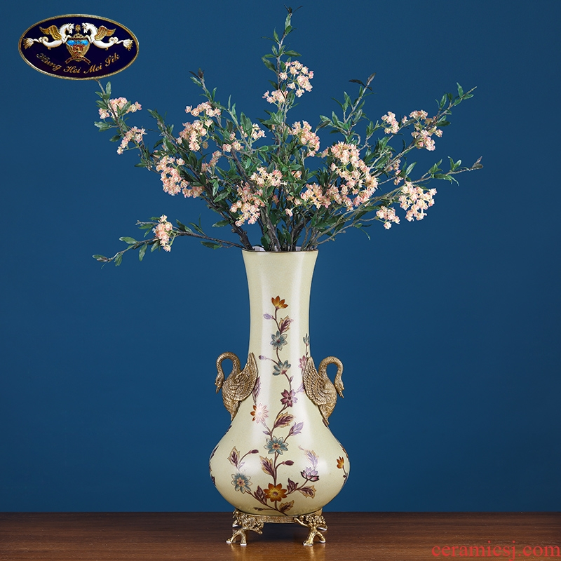 European household soft adornment example room swan copper vase ceramic arts and crafts have the sitting room porch flower decoration