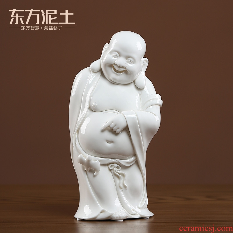 Oriental clay ceramic smiling Buddha maitreya furnishing articles dehua white porcelain checking crafts its art/in the front