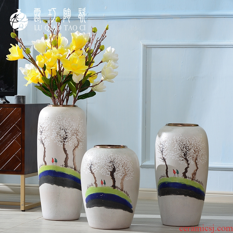 Hand - made ceramic vase literary small pure and fresh and dried flowers, decorative furnishing articles in the sitting room TV ark, ground bottle arranging flowers