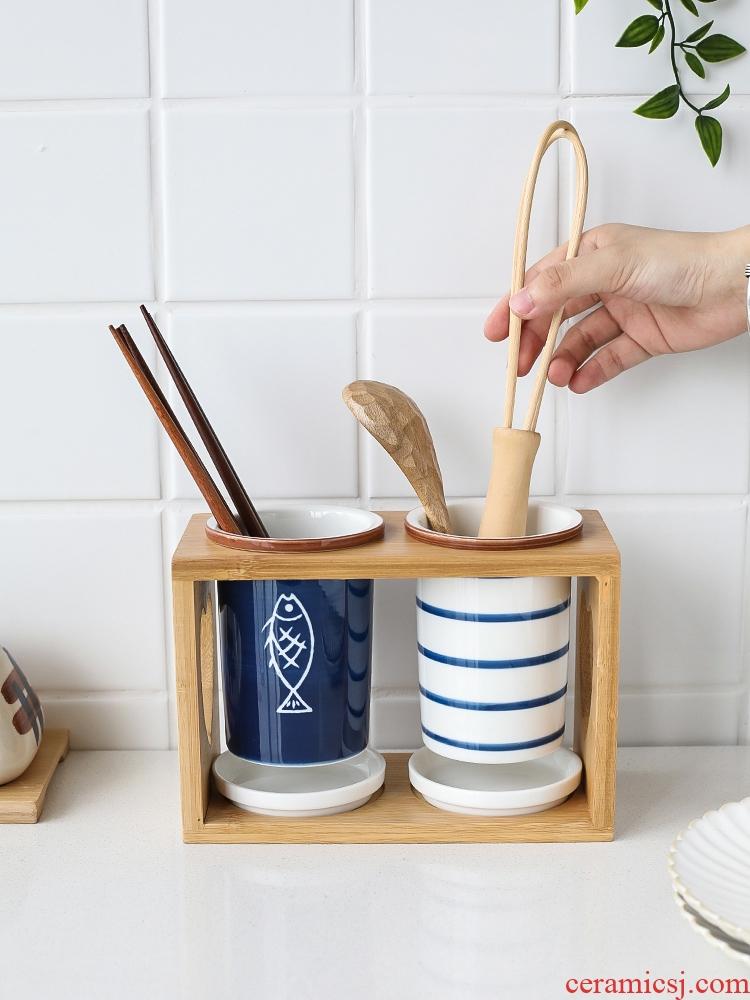 Sichuan in Japanese ceramic tube household waterlogging under caused by excessive rainfall chopsticks basket kitchen spoon shelf put chopsticks chopsticks cage