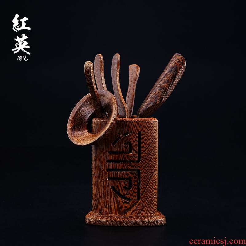 Jingdezhen kung fu tea accessories wenge tea six gentleman 's whole ChaGa teaspoons ChaZhen tea tea art