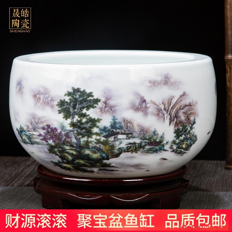 Jingdezhen ceramics tank cylinder tortoise home feng shui plutus cornucopia handicraft opening gifts furnishing articles