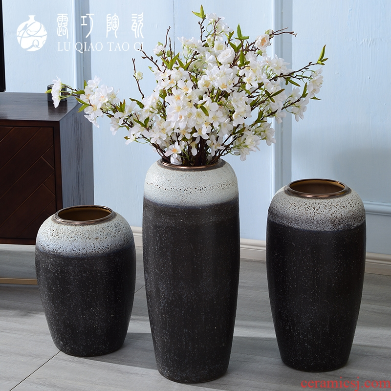 Lou qiao ground vase large Chinese style restoring ancient ways is plugged into the dried coarse pottery villa living room TV ark, clay ceramic furnishing articles