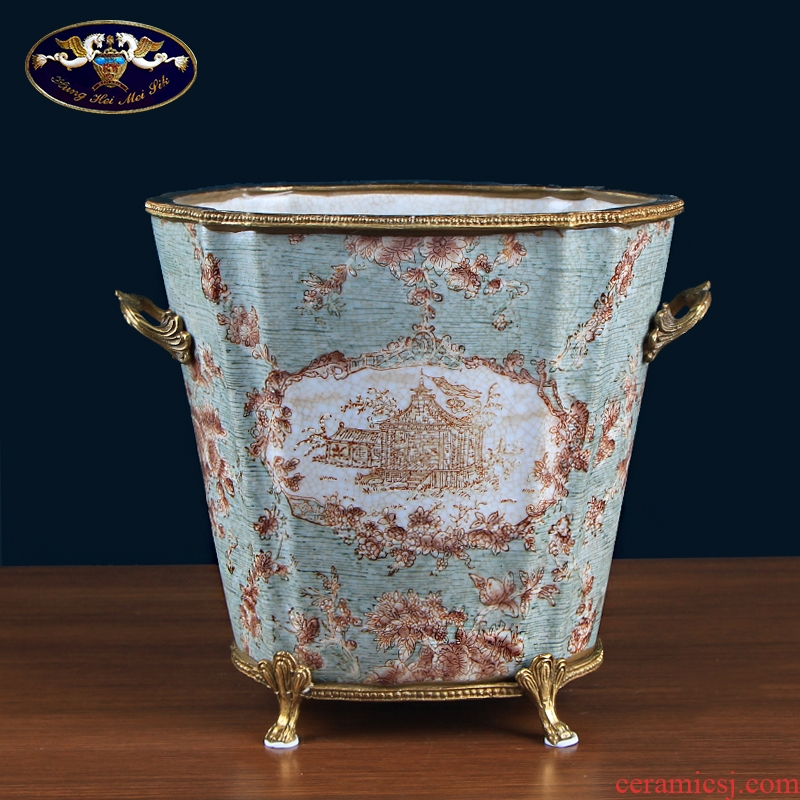 European creative ceramic inlaid copper receive ice bucket retro American household act the role ofing is tasted the sitting room decorate a bucket of furnishing articles