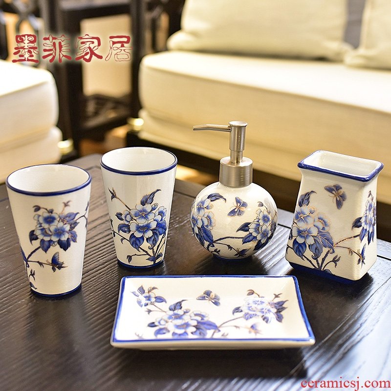 New Chinese style set porcelain ceramic sanitary ware has five bathroom toilet wash gargle things household soft adornment furnishing articles
