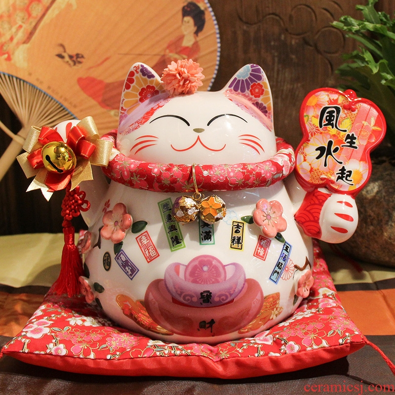Creative plutus cat feng shui furnishing articles prosperous wealth ceramics handicraft shops opening gifts office sitting room adornment