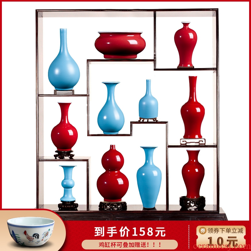 Ruby red in jingdezhen ceramics vase dry flower is I and contracted sitting room of new Chinese style household soft adornment is placed