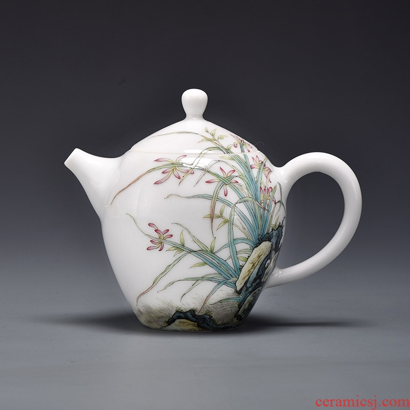 Jingdezhen manual powder enamel teapot JingJun corn poppy mitral pot teapot household kung fu tea set