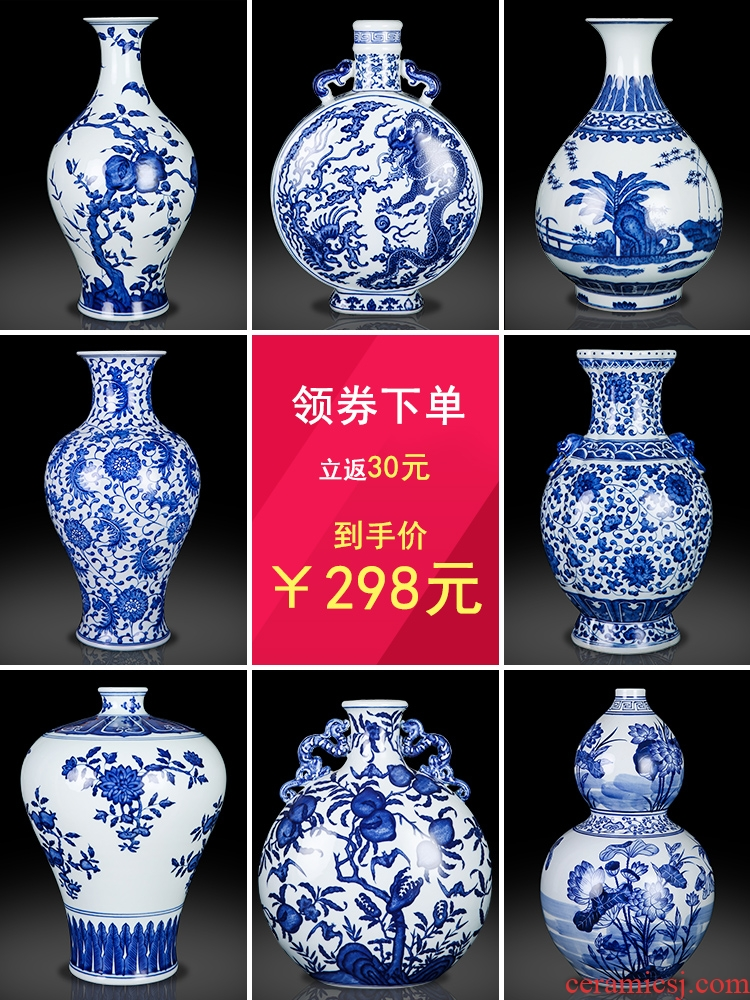 Jingdezhen ceramic vase furnishing articles archaize sitting room of Chinese style household flower arrangement of TV ark, of blue and white porcelain decorative arts and crafts