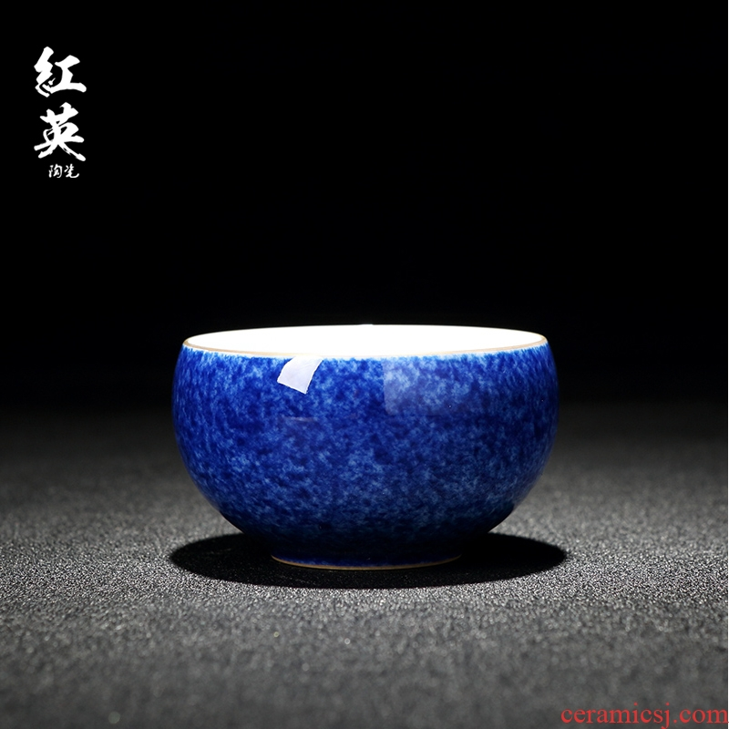 Red the jingdezhen ceramics with blue paint master kung fu tea cups ceramic checking sample tea cup cup single CPU