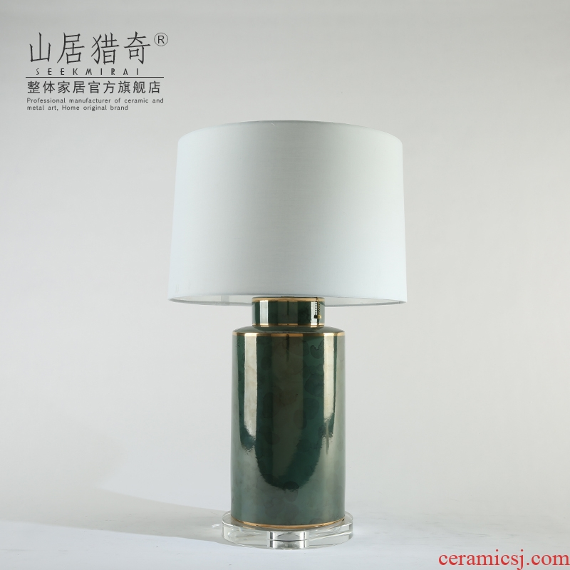 Modern Chinese style light key-2 luxury soft outfit American ceramic desk lamp new desk lamp of bedroom the head of a bed lamp sitting room adornment