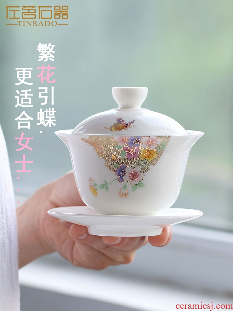 Dehua white porcelain craft ceramic best tureen three cups to make tea cup large bowl, a single hot tea restoring ancient ways