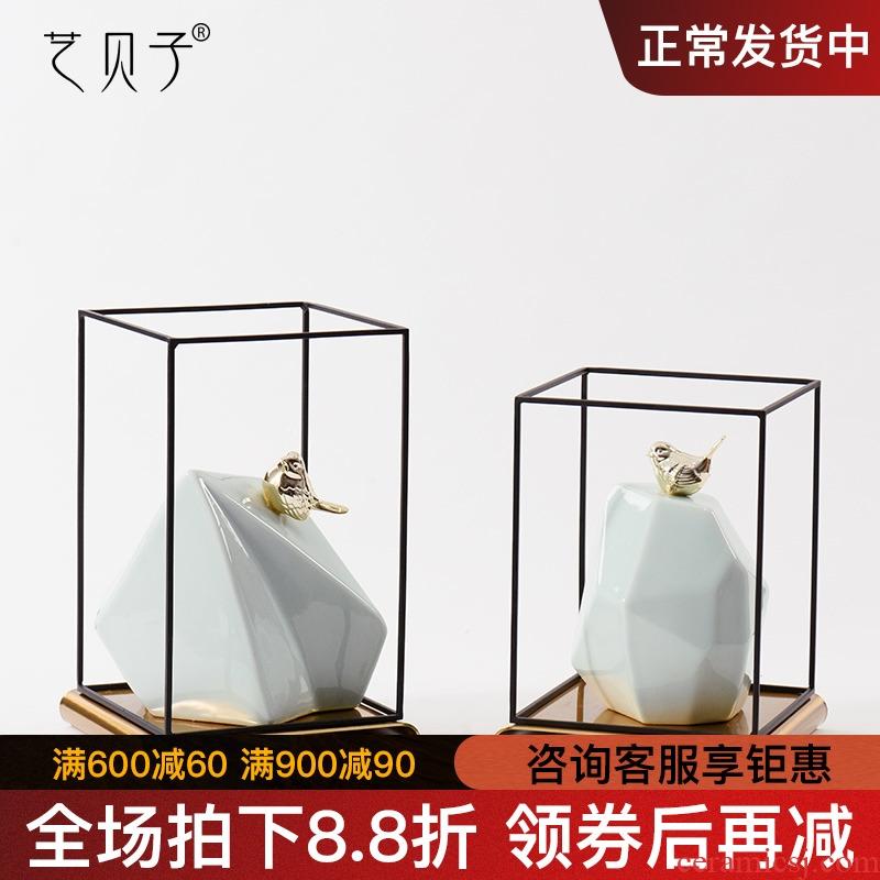 Art BeiZi household adornment Art creative furnishing articles bird ceramics taihu stone porch decoration TV ark