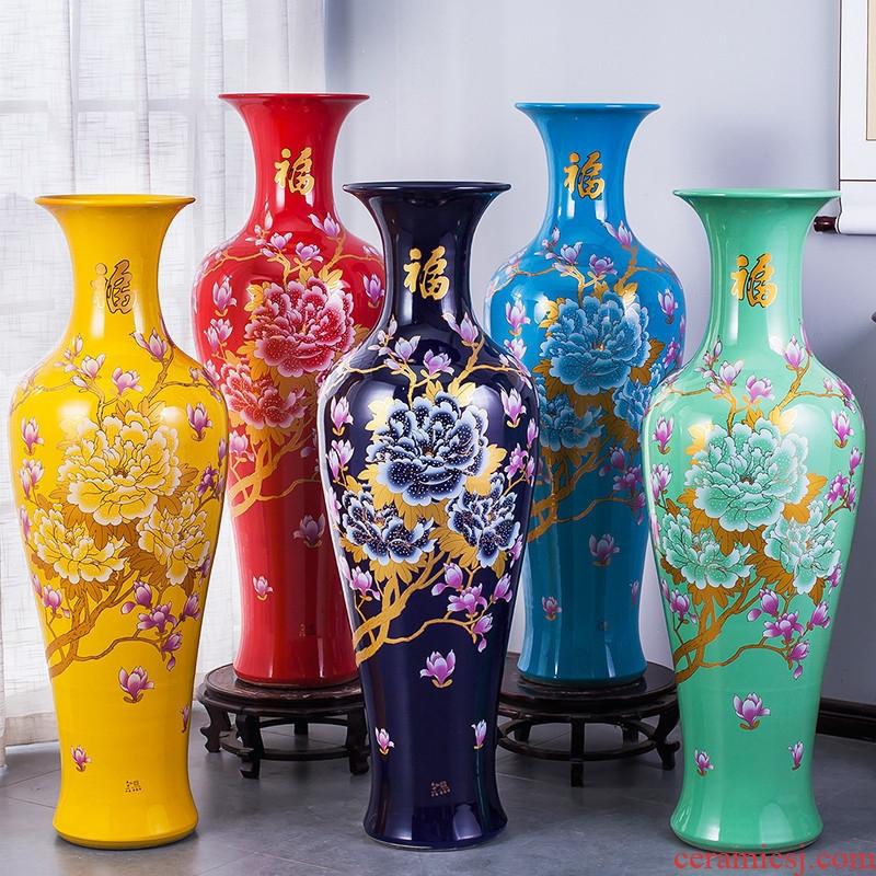 Jingdezhen ceramics of large vase Chinese red peony flowers prosperous sitting room hotel decorative home furnishing articles