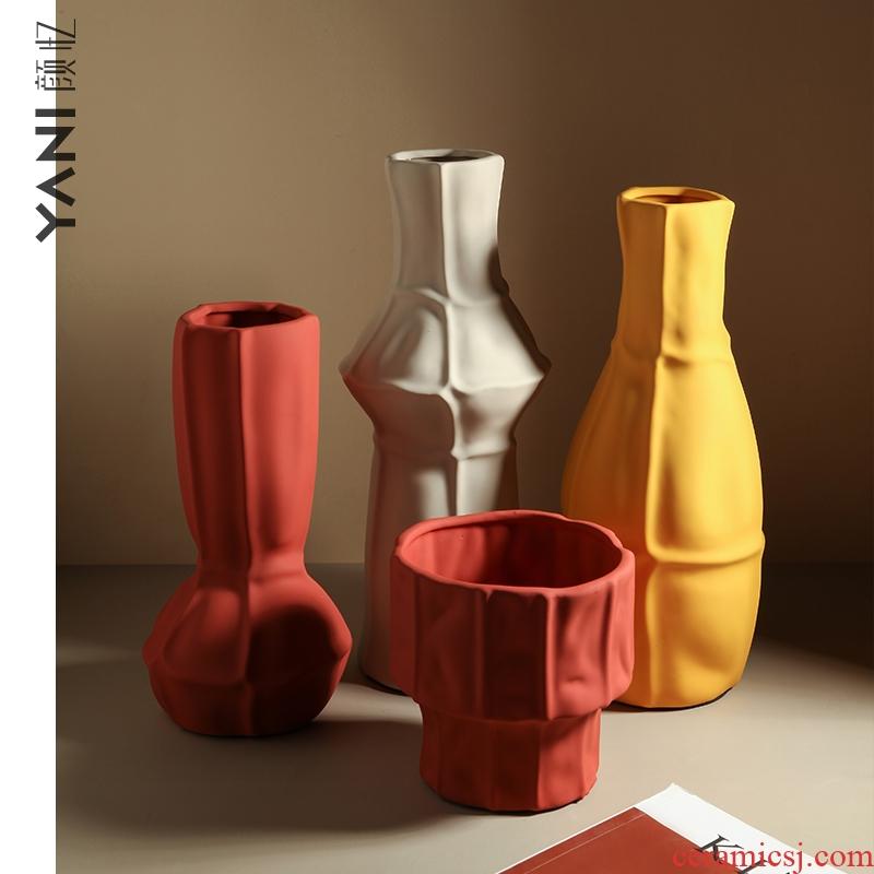 Nordic morandi color creative hydroponic vase dried flower adornment art ceramics desktop sitting room take place