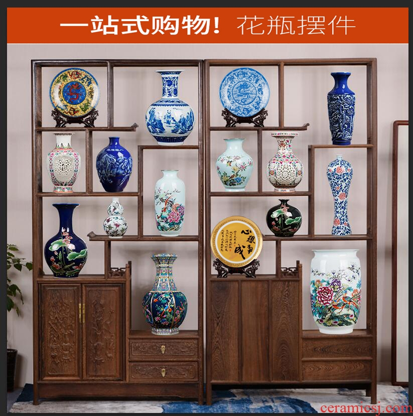 Jingdezhen ceramics vases, rich ancient frame furnishing articles of Chinese style living room decorations TV ark, porch imitation antique decoration