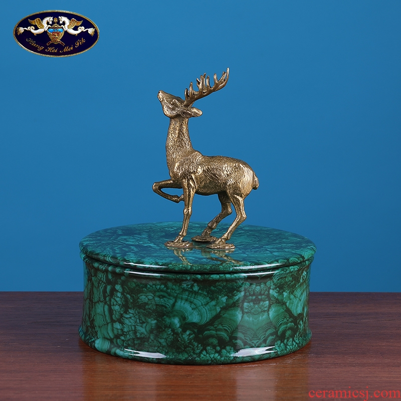 American creative pure copper deer ceramic porch light storage tank furnishing articles of key-2 luxury European - style household store content box, jewelry accessories