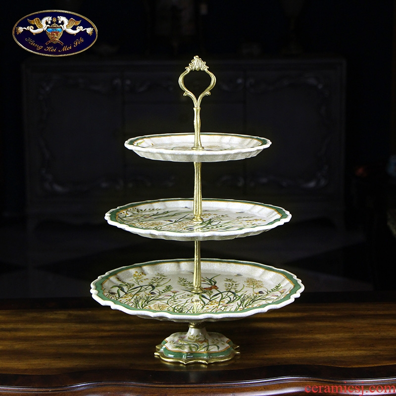 Ou compote creative home sitting room tea table dry fruit tray was furnishing articles American key-2 luxury ceramic disc candy dishes on three floors