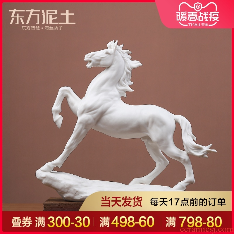 Oriental soil of new Chinese style ceramic horse furnishing articles master the process of high - grade office business gifts/bright future