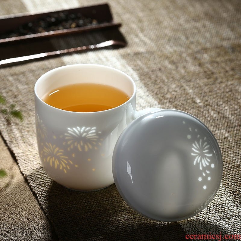 Separation of jingdezhen ceramic cup tea tea cups with cover filter office cup white porcelain and exquisite tea keller