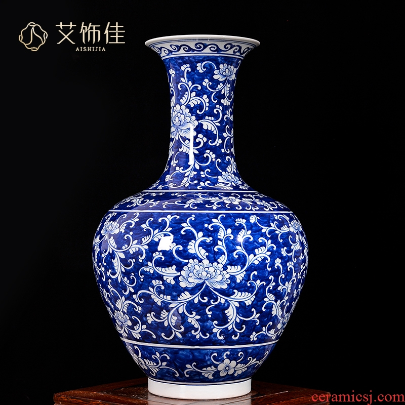 Jingdezhen blue and white ceramics bound branch lotus flower arranging big vase home sitting room of Chinese style TV ark adornment furnishing articles