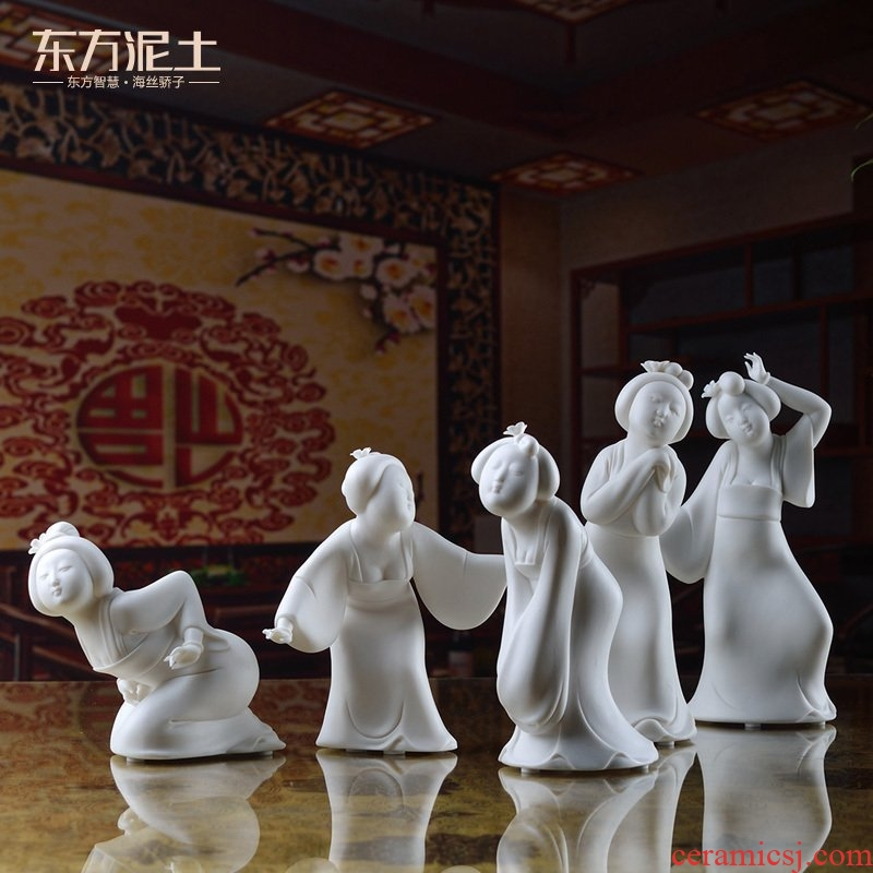 The east mud dehua white porcelain in The tang dynasty tang dynasty ladies furnishing articles creative living room TV wine accessories/tang dance