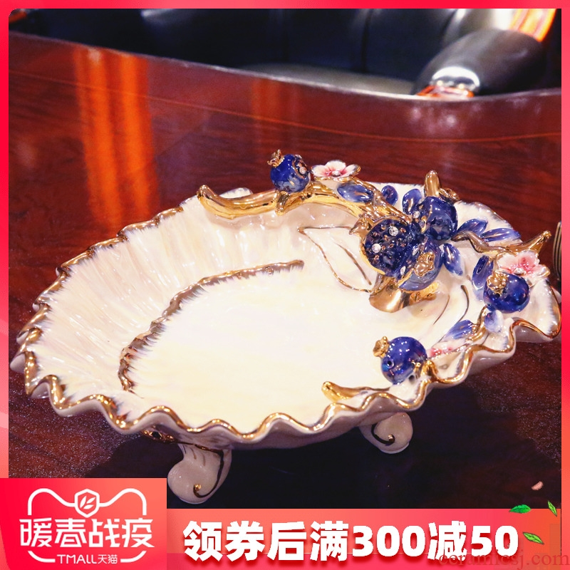 European sitting room adornment move large fruit compote furnishing articles ceramics basin creative fruit bowl housewarming gift
