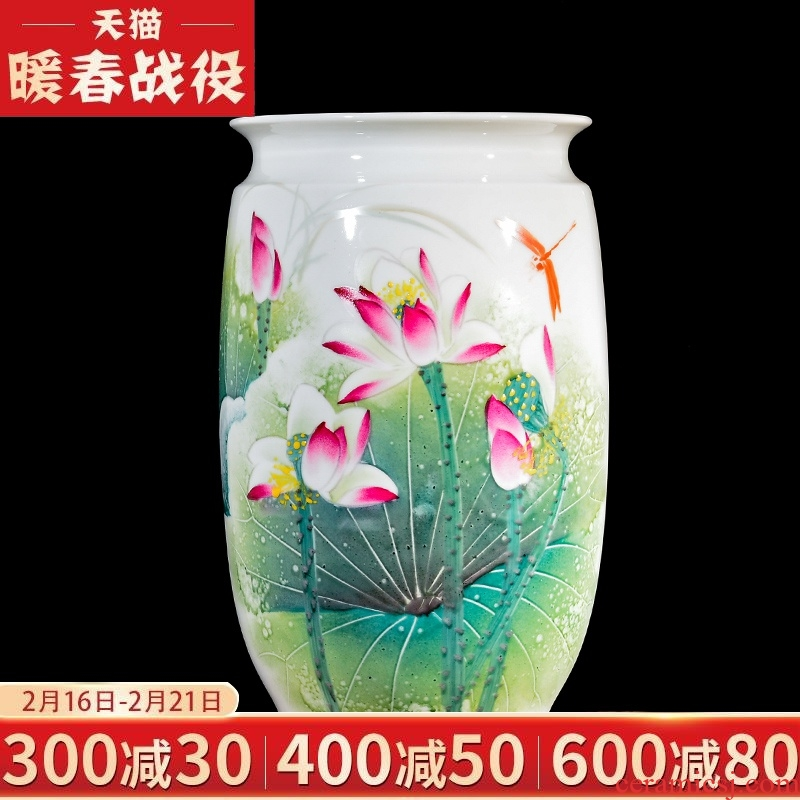 Jingdezhen ceramics vase furnishing articles sitting room hand lotus flower arranging flower implement new Chinese porcelain decorative arts and crafts