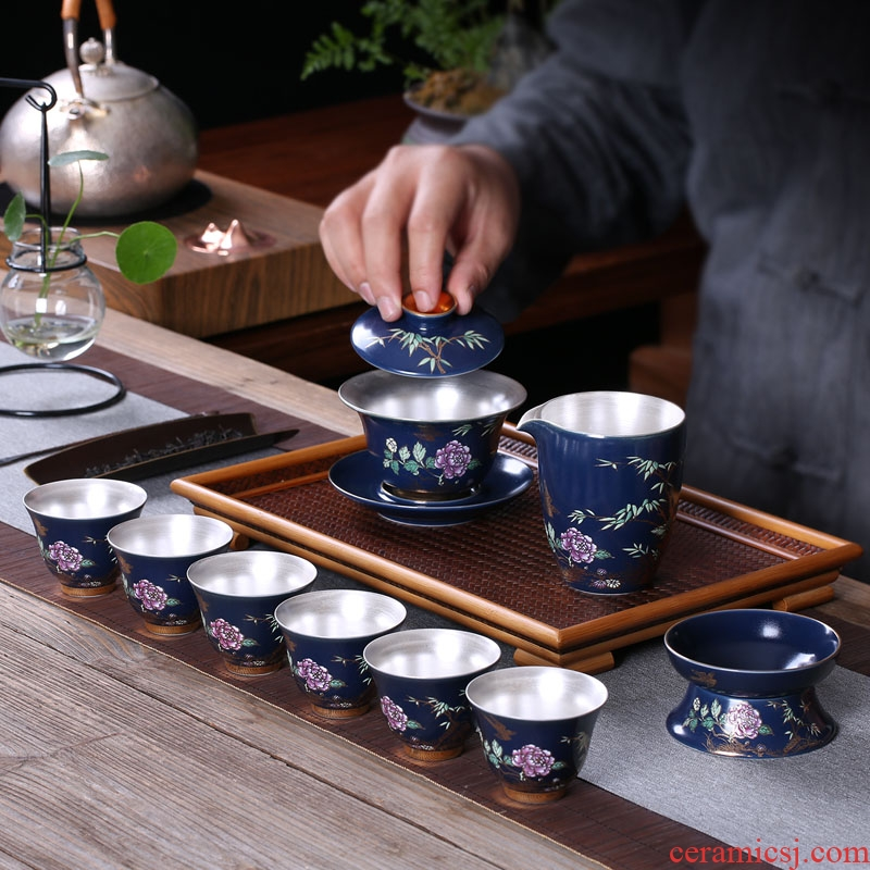 TaoMingTang kung fu tea set suit household set coppering. As YinJian light tea sets hand - made ceramic tea set the teapot teacup