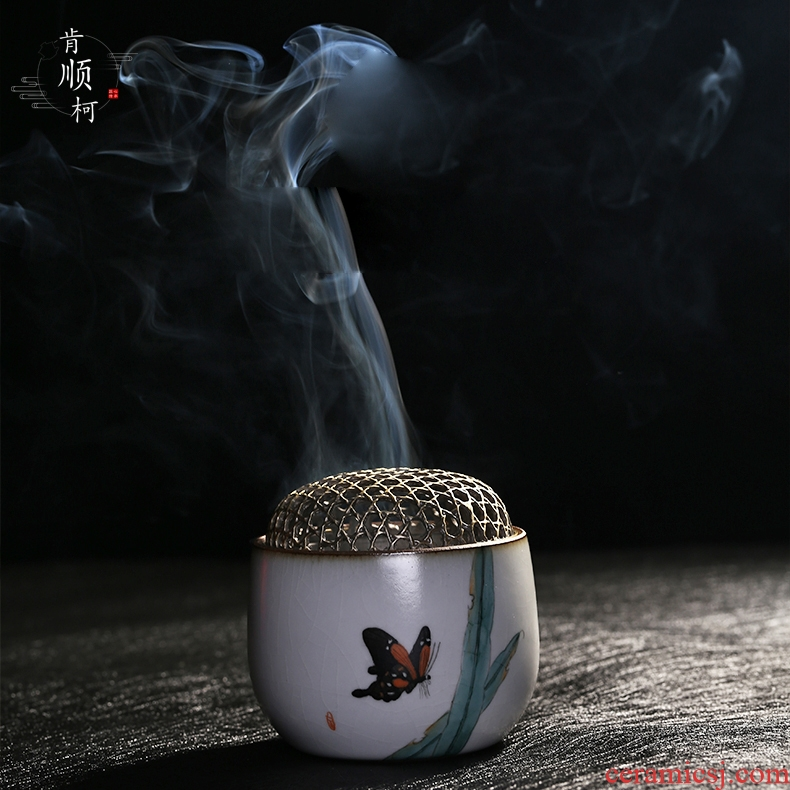 Jingdezhen pure manual your up hand - made ceramic consecrate Buddha copper cover sweet fume furnace with indoor small tea incense buner