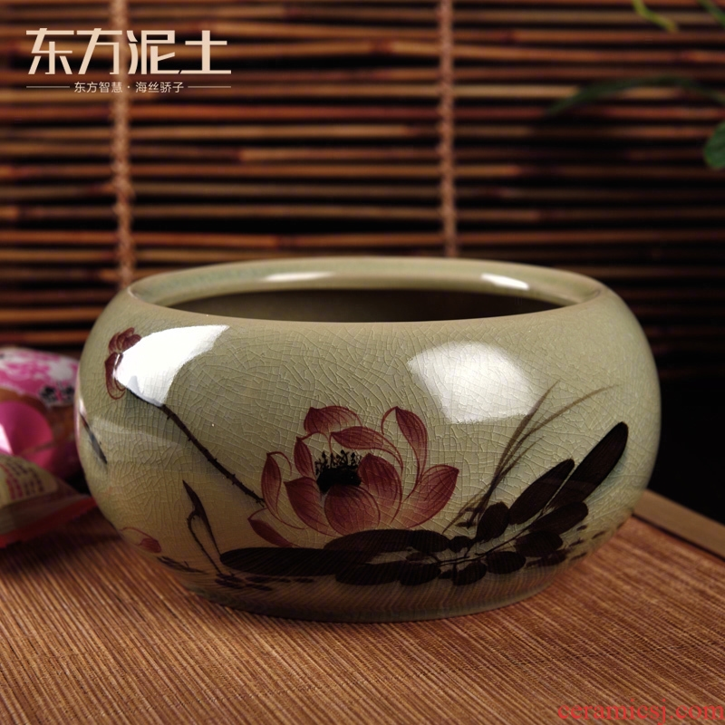East the earth up with ceramic hand - made multi - function compote refers to flower pot furnishing articles writing brush washer/lotus sitting room decoration