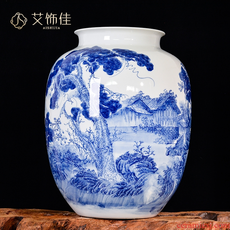 Jingdezhen ceramics hand - made green flower brook mountain autumn sunny vase Chinese flower arranging sitting room adornment is placed TV ark