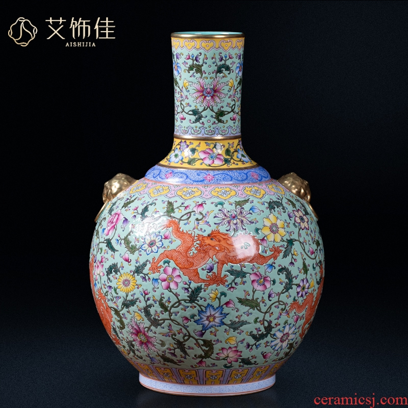 Jingdezhen chinaware paint ears archaize colored enamel vase palace Chinese style living room a study decorative arts and crafts