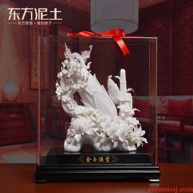 Oriental clay ceramic flower furnishing articles or Chinese style household decoration version into gifts/gold