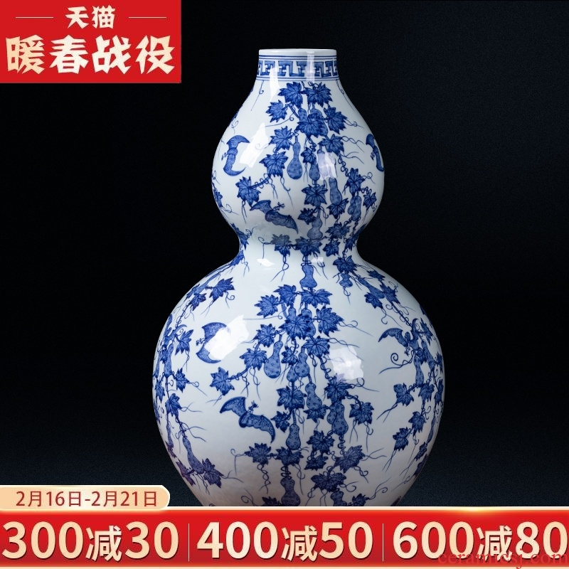 Jingdezhen ceramic antique blue - and - white qianlong f - fook noted gourd vases, flower arrangement study of home sitting room decorate gifts
