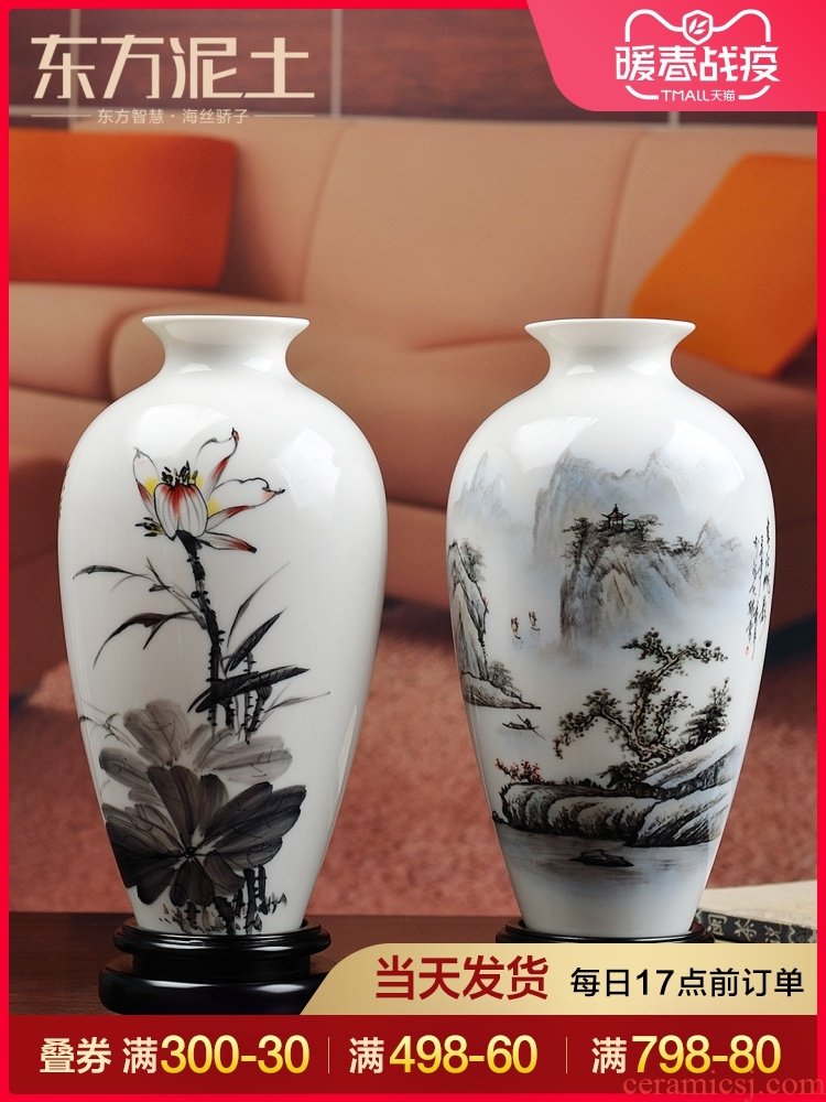 Oriental clay ceramic vase furnishing articles hand - made of new classical Chinese style household living room TV cabinet rich ancient frame ornaments