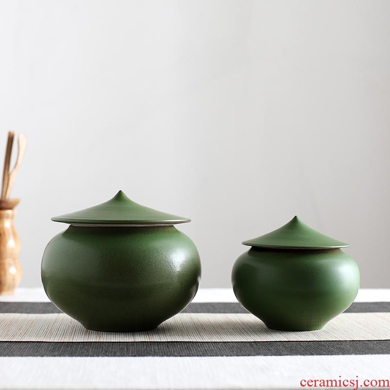 Red the jingdezhen ceramic coarse pottery checking caddy fixings general storage POTS pu 'er tea box storage tea pot