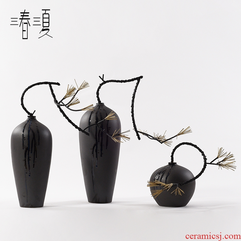 New Chinese style in modern ideas, wrought iron plant, ceramic soft adornment art sitting room porch place example room floor