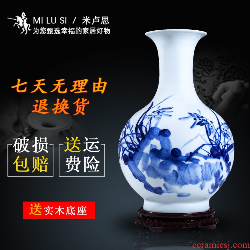 Jingdezhen blue and white porcelain ceramic vase large shan bottle home furnishing articles sitting room put dry flower lucky bamboo porcelain arts and crafts