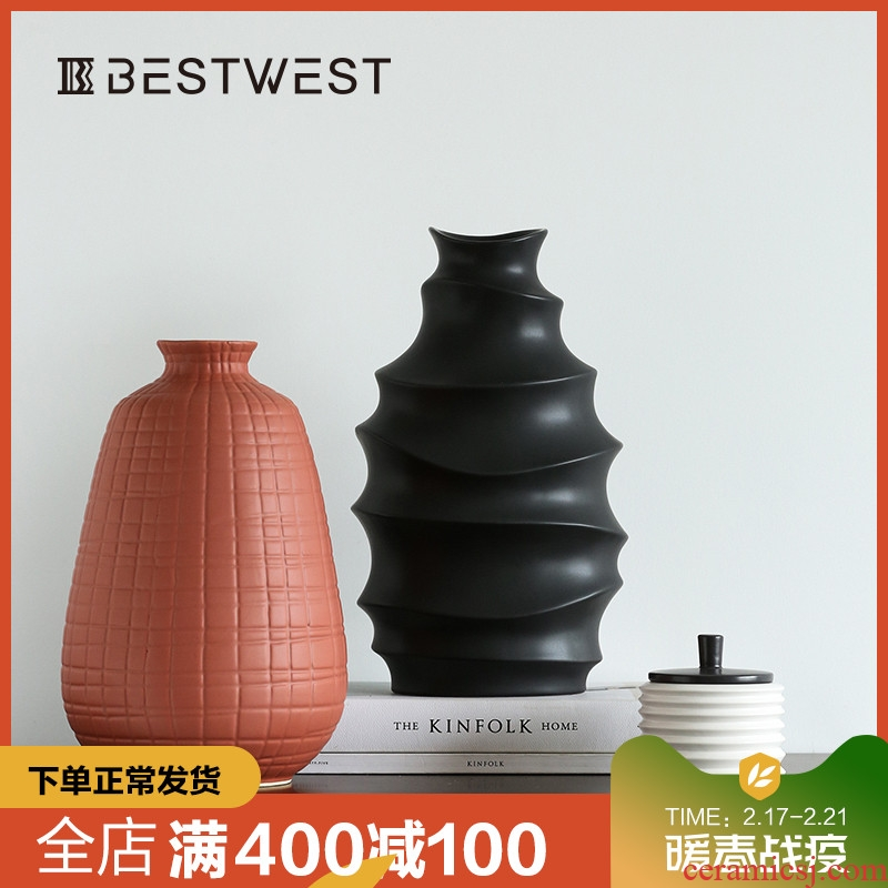 BEST WEST geometric creative ceramic vase is placed between example vase decoration light key-2 luxury home sitting room