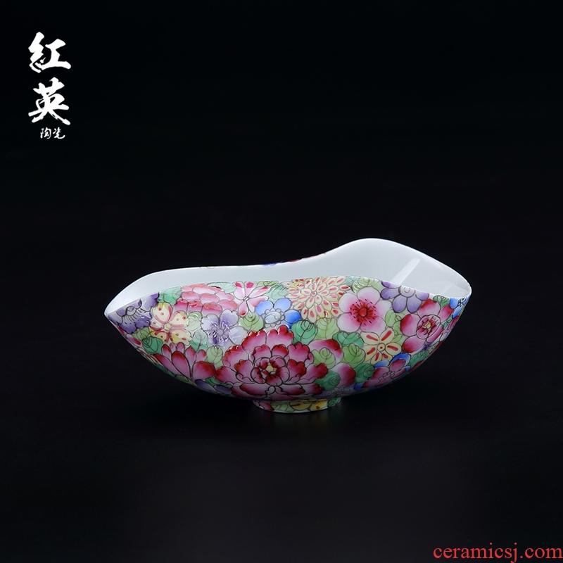 Red the jingdezhen porcelain enamel hand - made teaspoon of tea spoon, kung fu tea tea accessories shovel spoon tea is tea
