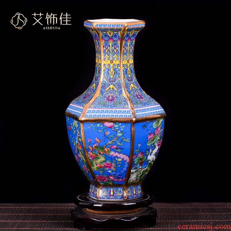 Jingdezhen ceramics imitation qianlong colored enamel vase TV ark, Chinese flower arranging furnishing articles, the sitting room porch decoration