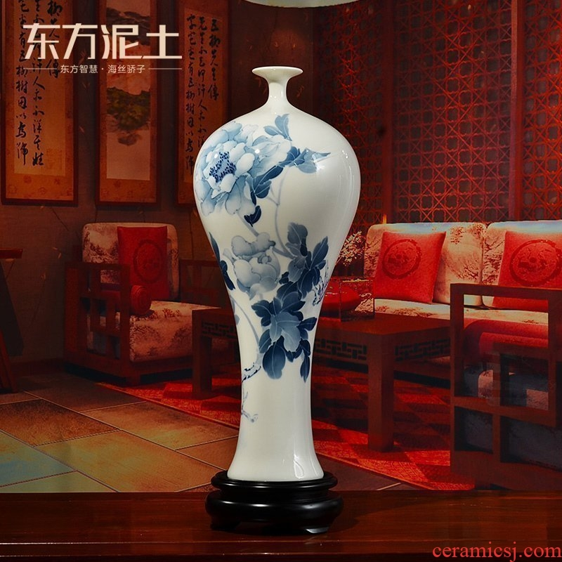 Oriental clay ceramic hand - made vases furnishing articles of Chinese style living room TV cabinet rich ancient frame accessories/blooming flowers