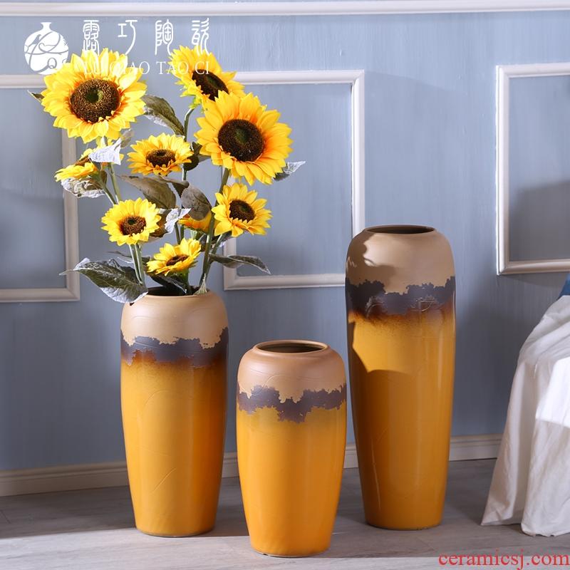 Creative kindergarten, lovely big yellow vase ceramic flower arranging dried flower bottle furnishing articles furnishing articles sitting room ground northern Europe