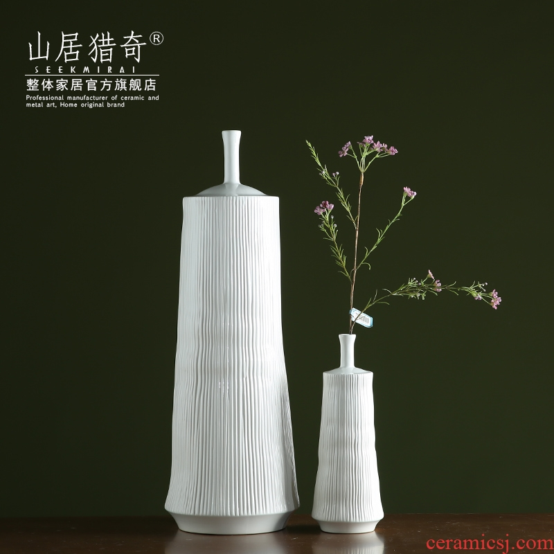 The modern new Chinese style vertical stripes pottery vase creative ceramic art flower arranging show home furnishings furnishing articles