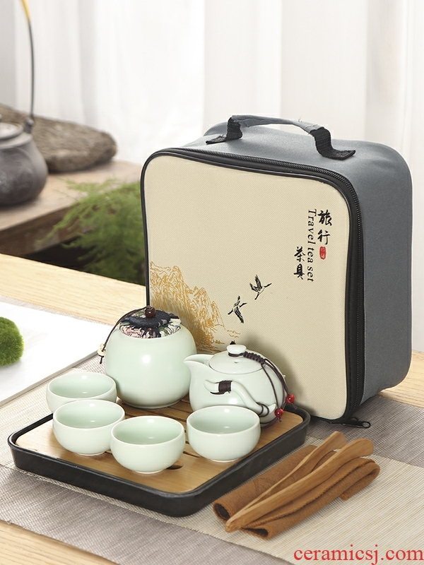 Portable travel tea set kung fu tea teapot teacup travel of a complete set of ceramic tea set tea tray to customize logo